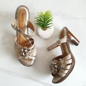 Born Metallic Leather Floral Heels Slide Sandals